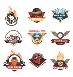 real biker emblems collection vector image vector image
