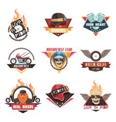 real biker emblems collection vector image