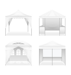 Realistic outdoor folding tents set vector