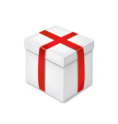 realistic white gift box with red ribbon vector image