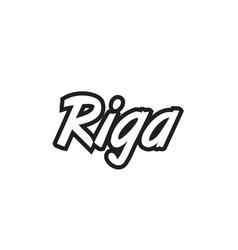 Riga europe capital text logo black white icon vector