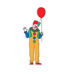 Scary clown with balloon animator in costume wig vector