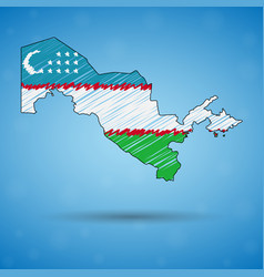 Scribble map uzbekistan sketch country map for vector