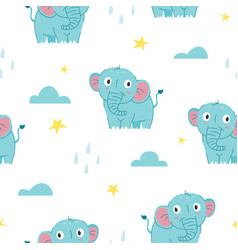 seamless pattern cute baby elephant vector image