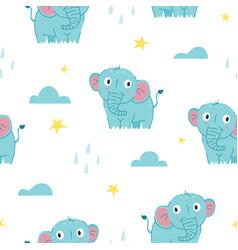 seamless pattern cute baelephant vector image