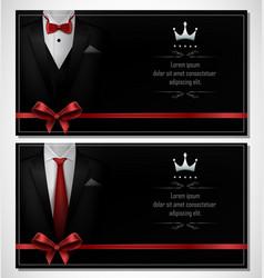 Set black tuxedo business card templates vector