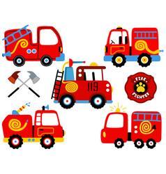 Set fire engine cartoon vector
