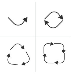 set of black circle square arrows one two three vector image
