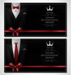 Set of black tuxedo business card templates with vector