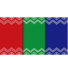 Set of three knitted christmas backgrounds vector