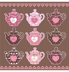 Set vintage teapots vector