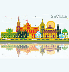 Seville skyline with color buildings blue sky and vector