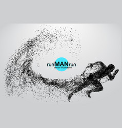silhouette of a running man from particles vector image