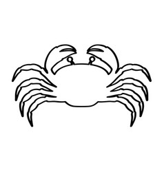 Silhouette with line contour of crab vector