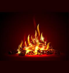 Smoldering fire at night vector