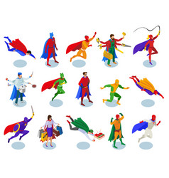 Super heroes isometric people vector