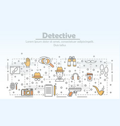 thin line art detective poster banner vector image