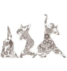 three indian dancers vector image