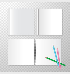 Top view opened notebooks on spiral bound and vector