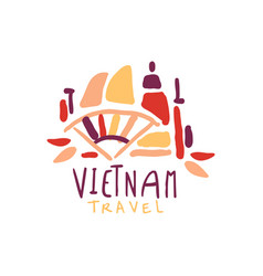 Travel to vietnam logo design vector