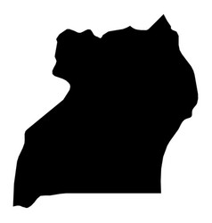 uganda - solid black silhouette map of country vector image