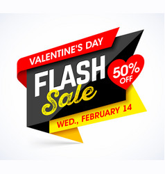 valentines day flash sale bright banner design vector image