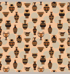 vases seamless pattern ancient bowls vector image