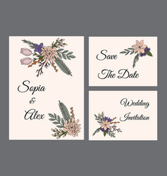 vintage wedding invitation floral template vector image