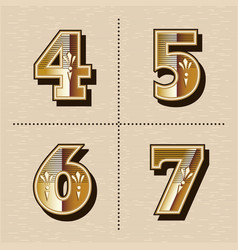 vintage western numbers alphabet letters font vector image