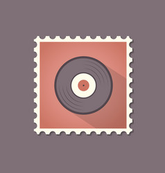 vinyl flat stamp with shadow retro style vector image