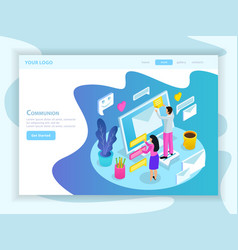 virtual communication isometric landing page vector image
