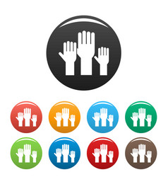Vote hands icons set color vector