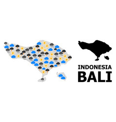 Weather mosaic map bali island vector
