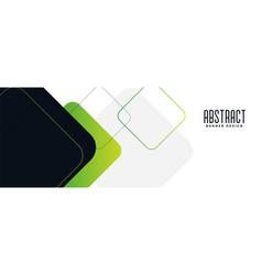Wide green geometric banner design vector