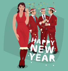 woman and men in red celebrate new year vector image