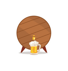 wooden barrel with tap and mug of beer vector image
