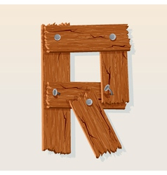 Wooden letter r vector