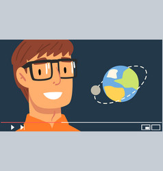 Young man blogger wearing glasses streaming about vector