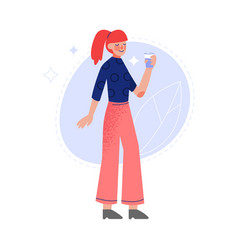 Young woman drinking fresh clean water from bottle vector