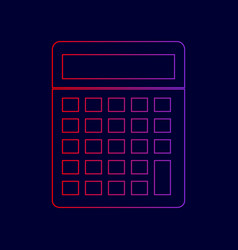 calculator simple sign line icon with vector image