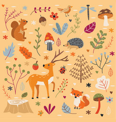 cute autumn forest set vector image vector image