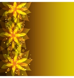 Floral golden background with stylish flower vector image vector image