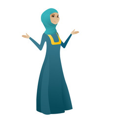 muslim confused business woman with spread arms vector image