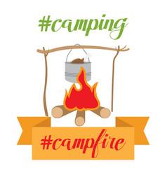 pot on bonfire camping theme vector image