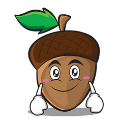smile acorn cartoon character style vector image