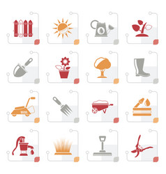stylized gardening tools and objects icons vector image vector image