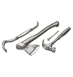 tools logo design template hammer and nail vector image