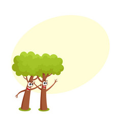 two funny comic style tree characters playing with vector image