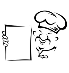 Chinese chef with blank menu paper vector image