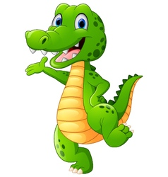 Funny crocodile standing and posing with hand wavi vector image